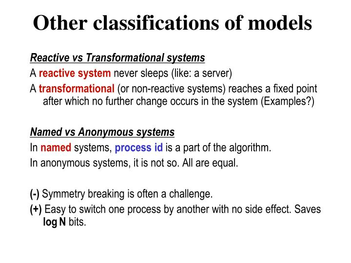 Other classifications of models
