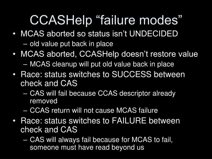 """CCASHelp """"failure modes"""""""