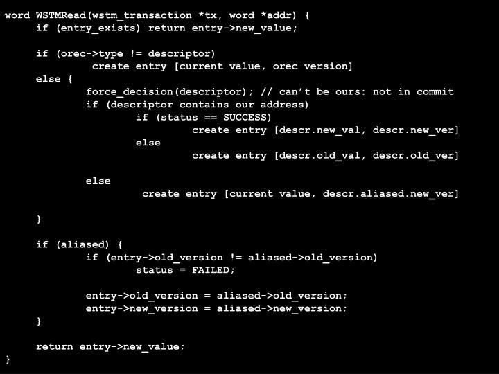 word WSTMRead(wstm_transaction *tx, word *addr) {