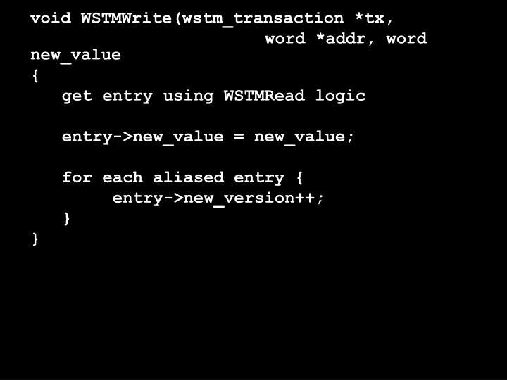 void WSTMWrite(wstm_transaction *tx,