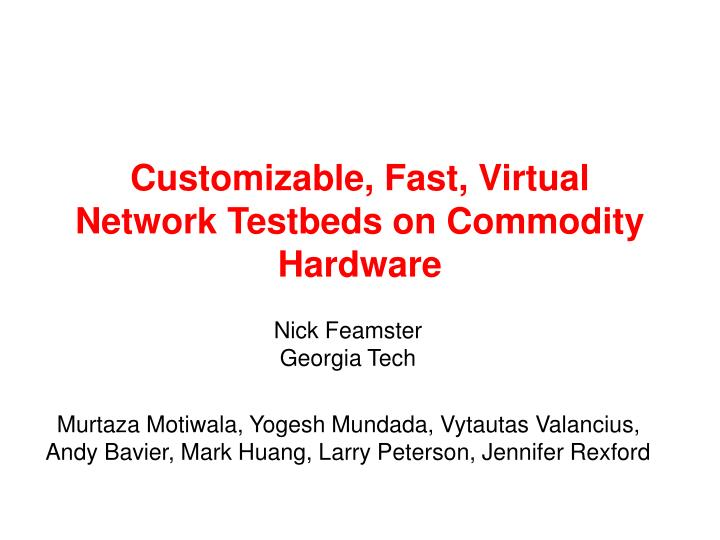 Customizable fast virtual network testbeds on commodity hardware
