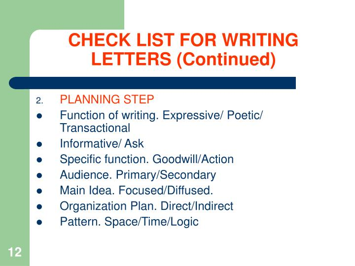 CHECK LIST FOR WRITING LETTERS (Continued)