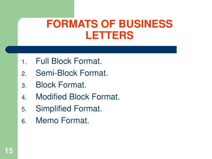 FORMATS OF BUSINESS LETTERS