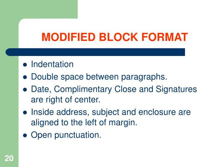 MODIFIED BLOCK FORMAT