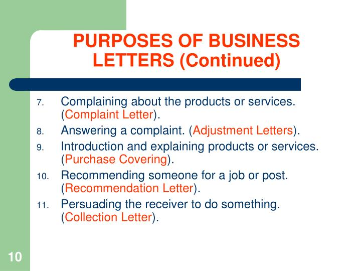 PURPOSES OF BUSINESS LETTERS (Continued)