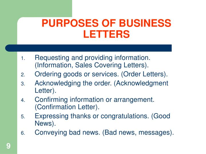 PURPOSES OF BUSINESS LETTERS