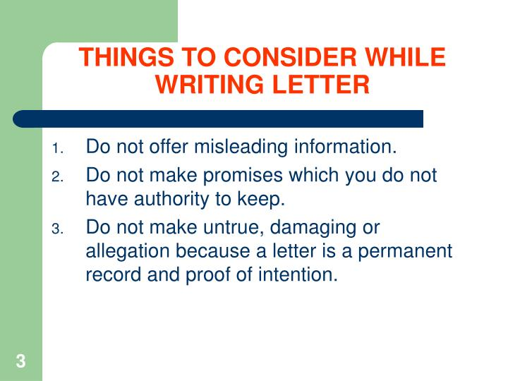 THINGS TO CONSIDER WHILE WRITING LETTER