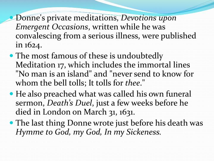 Donne's private meditations,