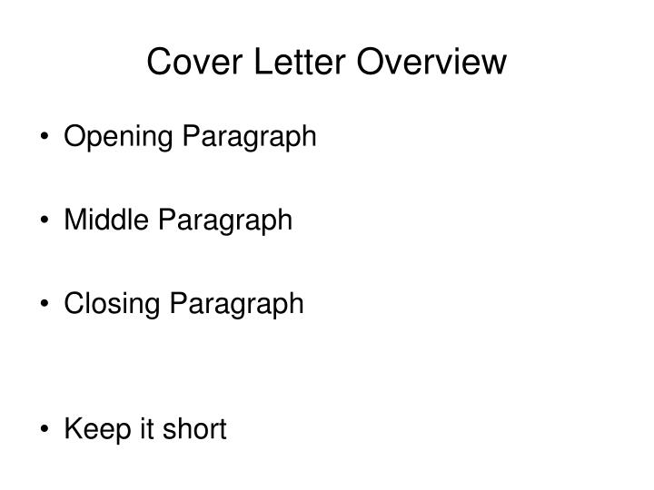 Cover Letter Overview