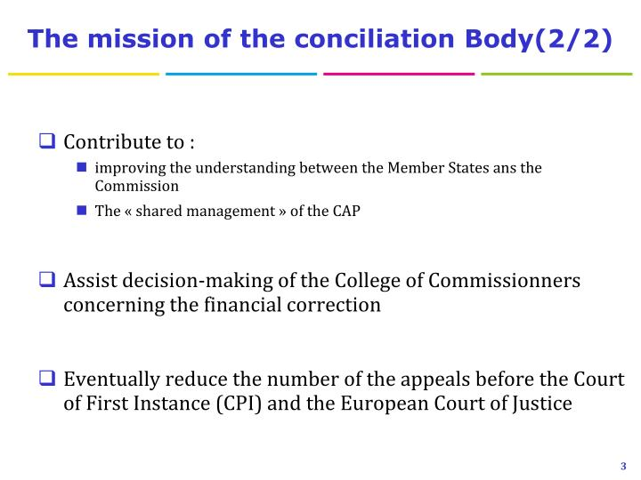 The mission of the conciliation body 2 2