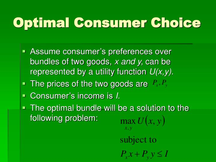 Optimal Consumer Choice