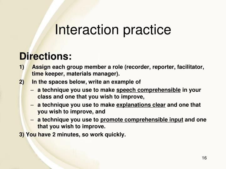 Interaction practice
