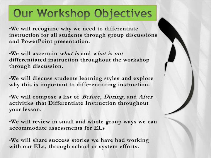 Our workshop objectives