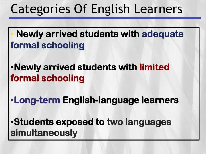 Categories Of English Learners