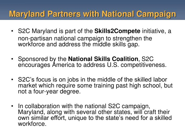 Maryland Partners with National Campaign