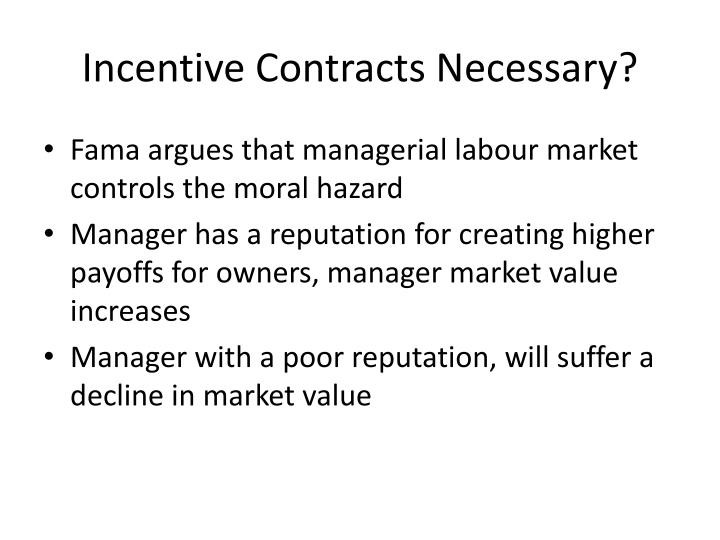 Incentive contracts necessary