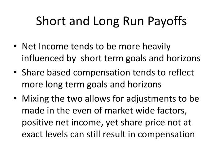 Short and Long Run Payoffs
