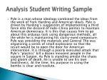 analysis student writing sample