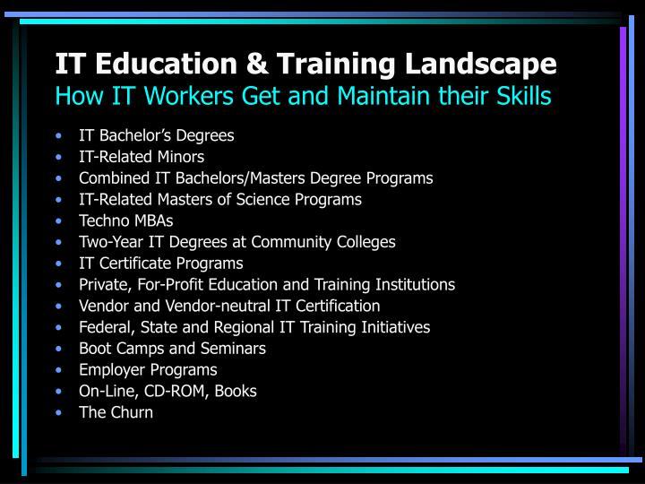 IT Education & Training Landscape