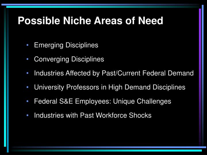 Possible Niche Areas of Need