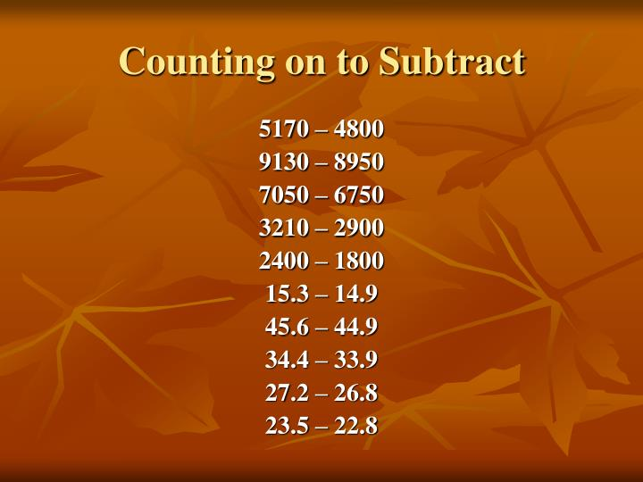 Counting on to Subtract