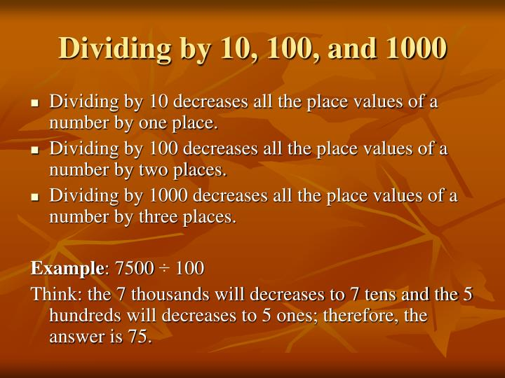Dividing by 10, 100, and 1000