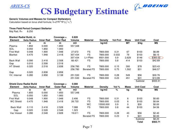 CS Budgetary Estimate