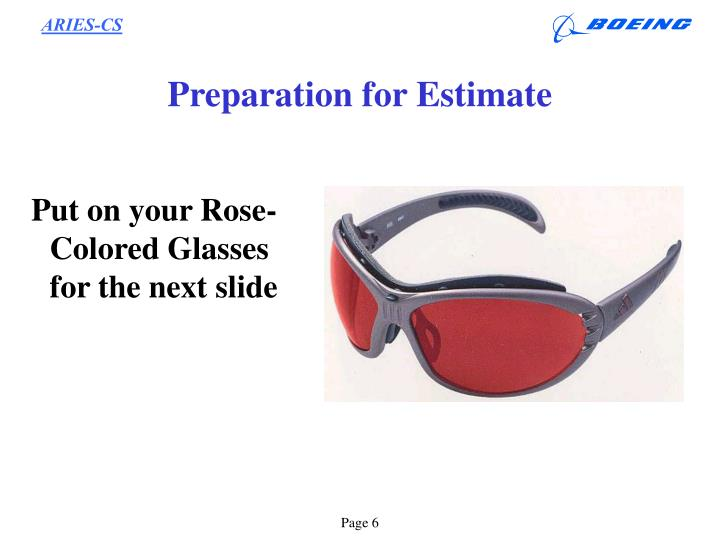 Preparation for Estimate