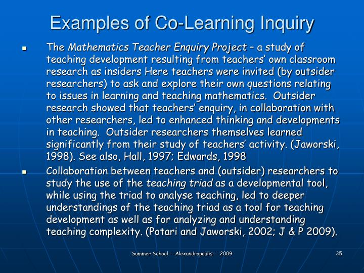 Examples of Co-Learning Inquiry