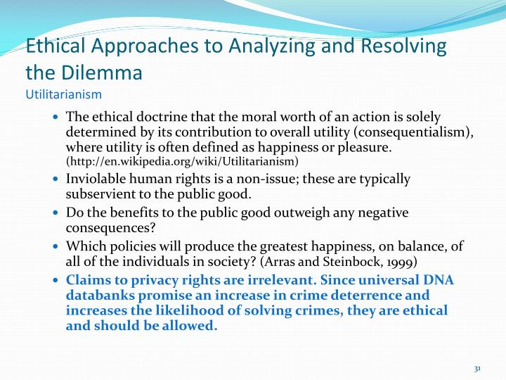 Ethical Approaches to Analyzing and Resolving the Dilemma