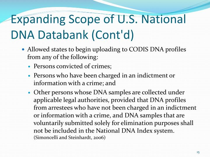 Expanding Scope of U.S. National DNA Databank (Cont'd)