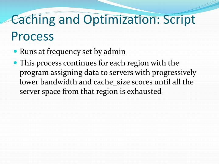 Caching and Optimization: Script Process