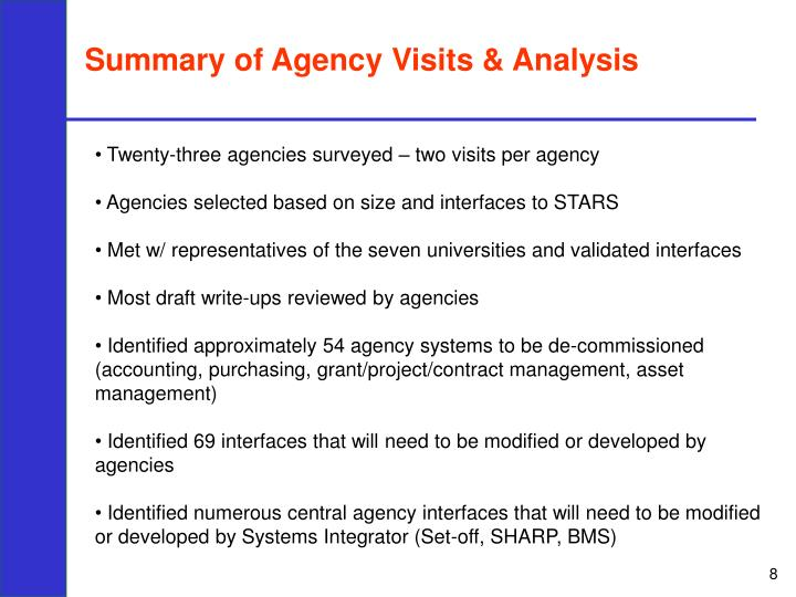 Summary of Agency Visits & Analysis