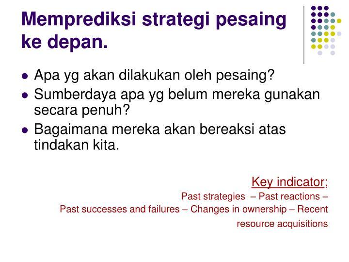 Memprediksi strategi pesaing  ke depan.