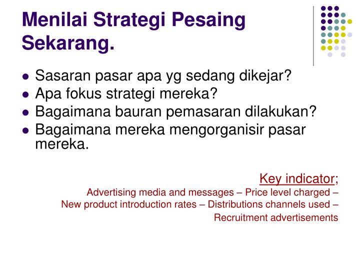 Menilai Strategi Pesaing Sekarang.