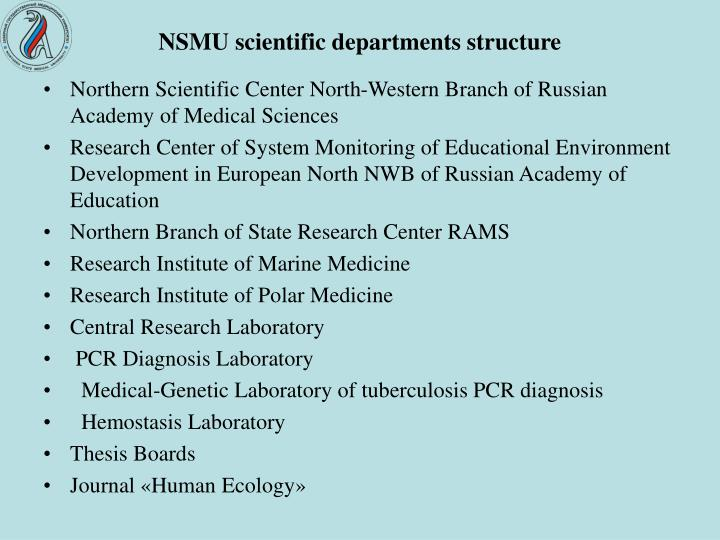 NSMU scientific departments structure