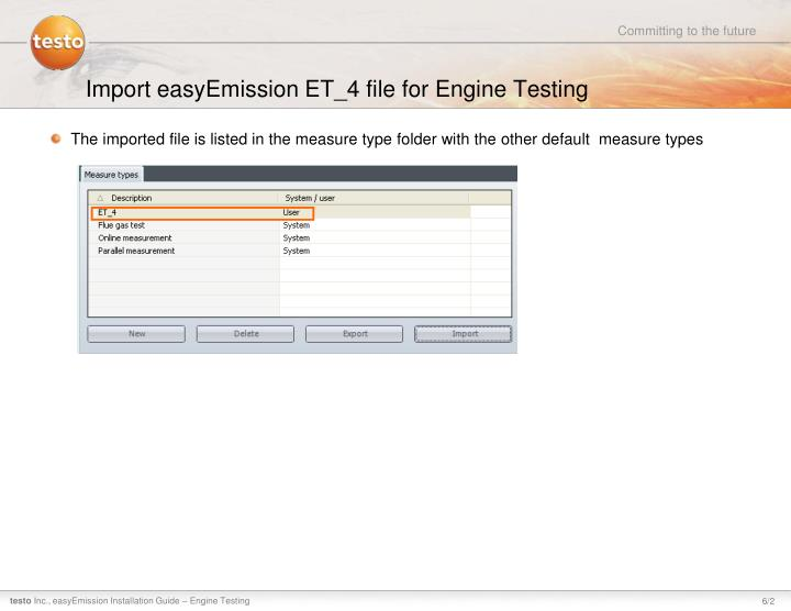 Import easyEmission ET_4 file for Engine Testing