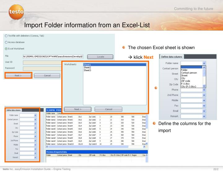 Import Folder information from an Excel-List