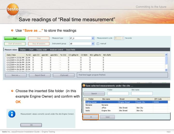 "Save readings of ""Real time measurement"""