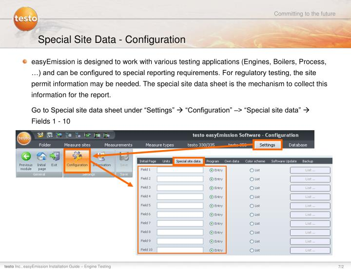 Special Site Data - Configuration