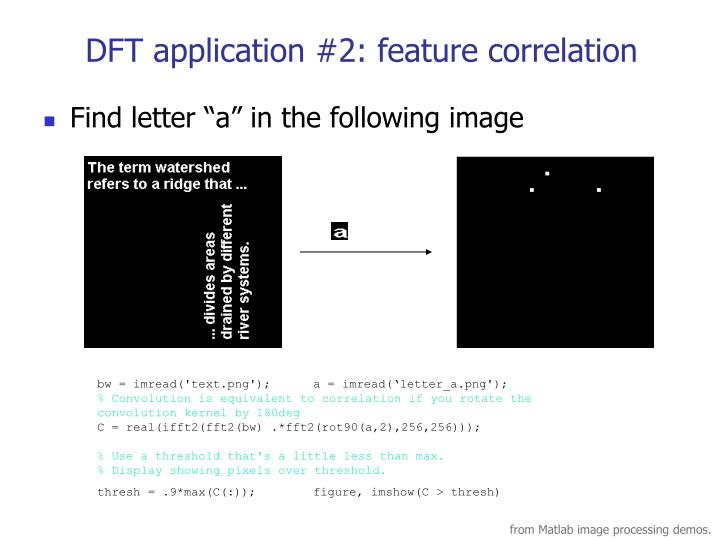 DFT application #2: feature correlation