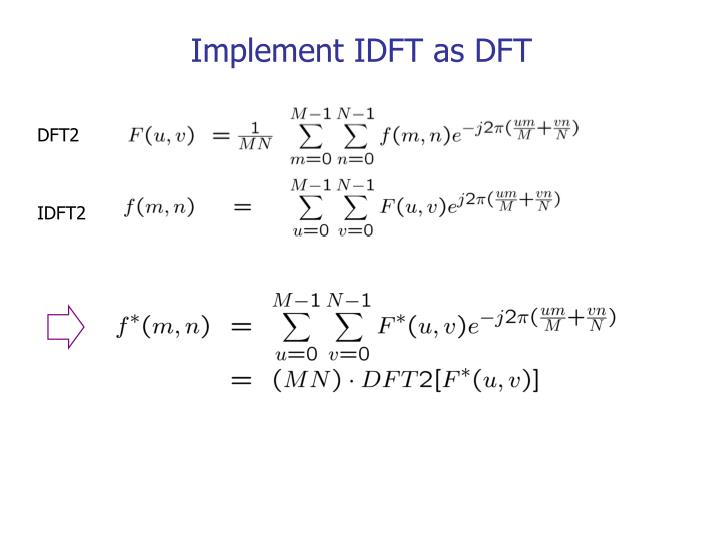 Implement IDFT as DFT