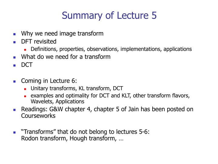 Summary of Lecture 5
