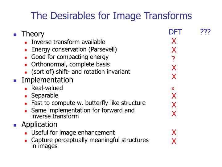 The Desirables for Image Transforms