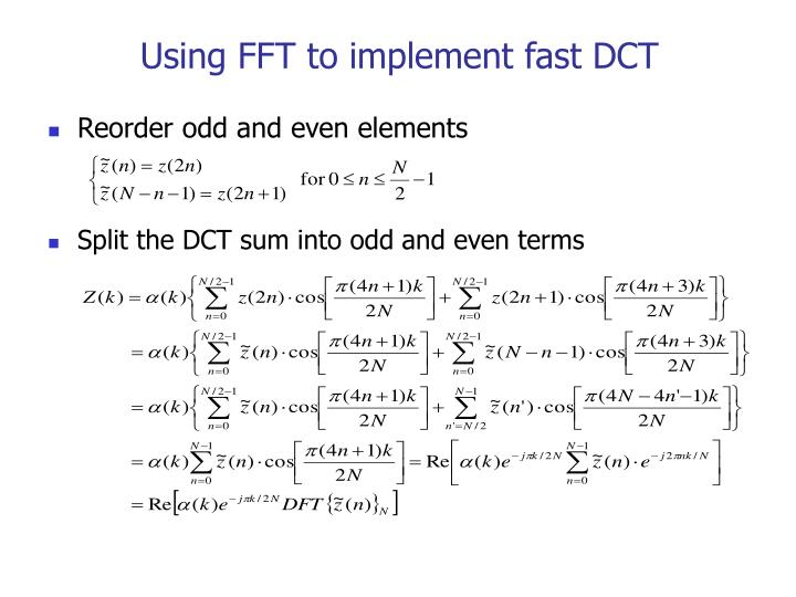 Using FFT to implement fast DCT