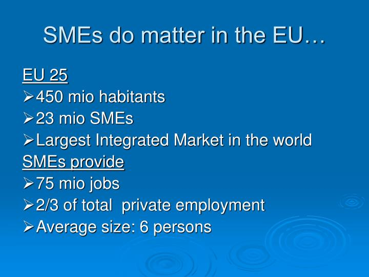 Smes do matter in the eu
