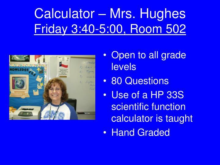 Calculator – Mrs. Hughes