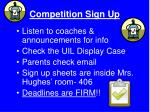 competition sign up