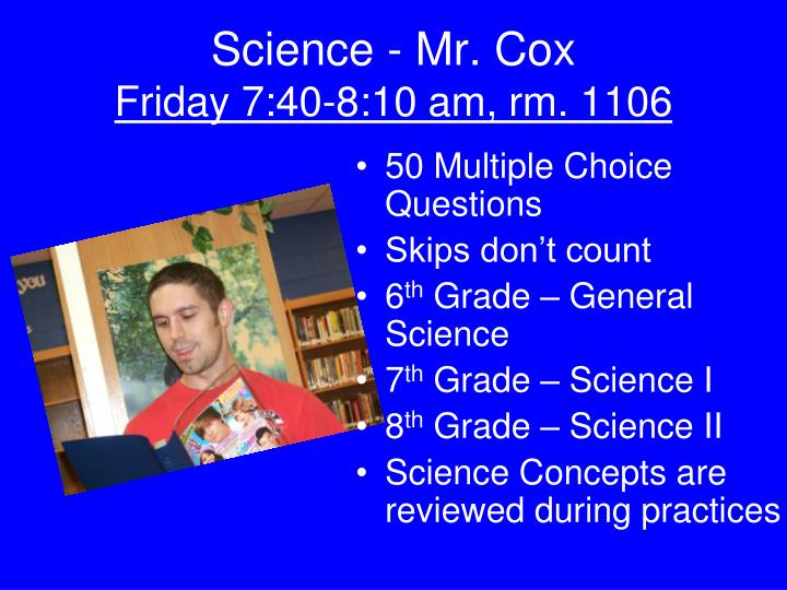 Science - Mr. Cox