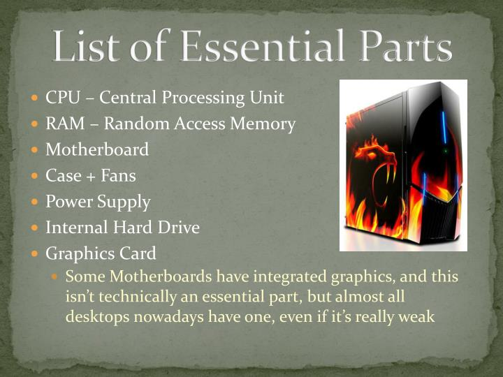 List of Essential Parts
